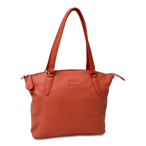 Image shows a photograph of the Samantha Renke handbag in a deep Coral colour, on a white background.