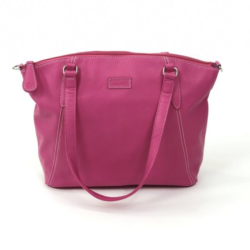 "Image shows a photograph of the Sam Renke handbag in a ""Hot Pink"" colour on a white background"