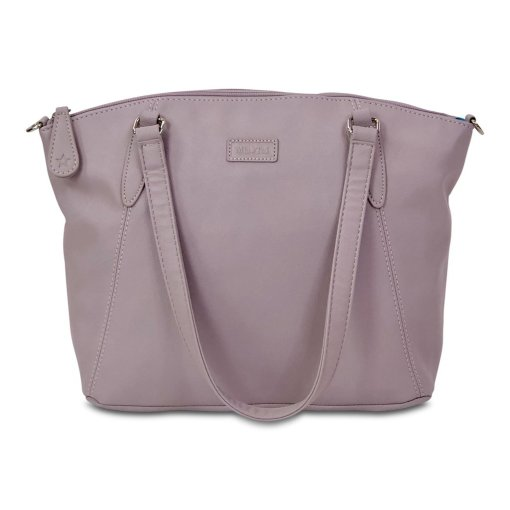Image shows a photograph of the Samantha Renke inclusive handbag in a soft lilac colour, on a white background.