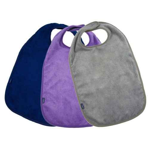 Image shows a photograph of 3 bamboo towelling aprons in the colours navy blue, purple and grey, lay flat in a fan-shape on a white background