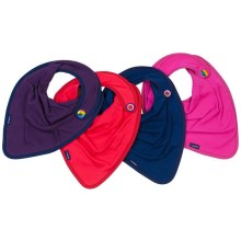 Image shows a photograph of 4 jersey kerchiefs in the colours plum, red, navy blue and cerise pink, lay flat in a fan-shape on a white background