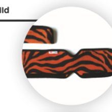 Image shows a circle inside of which is a photograph of a close-up of the Go Wild orange and black tiger-print fabric used for the Skoe Wrap
