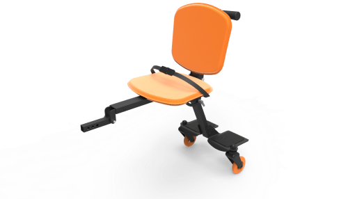Image is a photograph of the Skoe Hitch in bold orange. Chassis of the Skoe Hitch is black aluminium and the seat, backrest and wheels are orange.