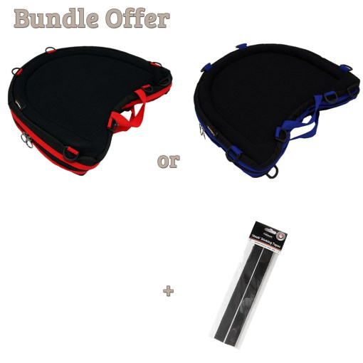 """Image is a composite of three photographs, including the Trabasack Curve Connect with Red trim, Curve Connect with blue trim and a pack of hook tapes. Text reads """"Bundle Offer - Trabasack Curve Connect with red or blue trim, and a pack of hook tapes"""""""