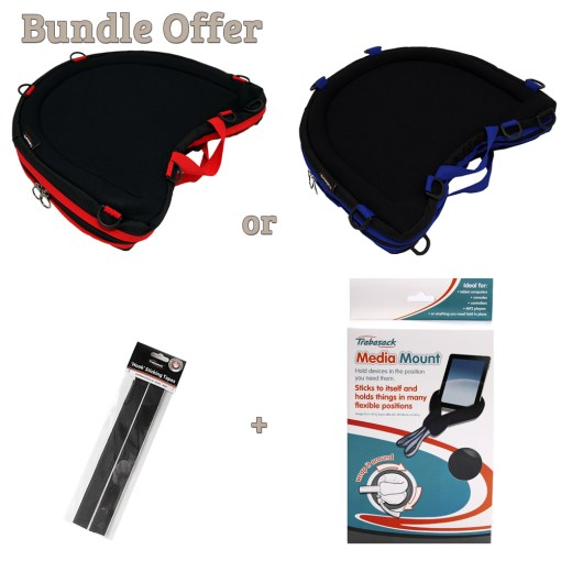 """Image is a composite of several photographs of the Curve Connect in red, Curve Connect in blue, packet of hook tapes and packaging for the Media Mount. Image reads """"Bundle offer, curve connect in red or blue, plus hook tapes and media mount"""""""
