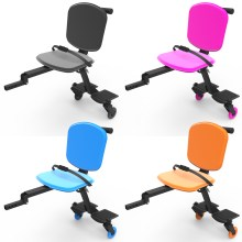 Image is a photograph showing the four colours (black, pink, blue, orange) available of the Skoe Hitch mobility scooter trailer for kids