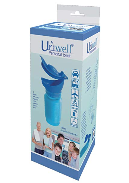 Image is a photograph of the packaging for the Uriwell travel urinal