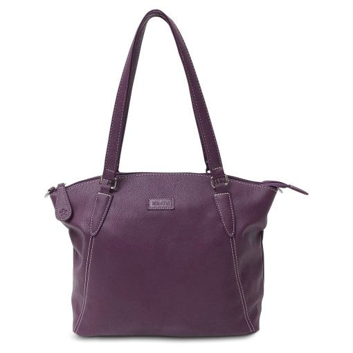 Image is a photograph of a Samantha Renke bag in a deep aubergine colour, on a white background