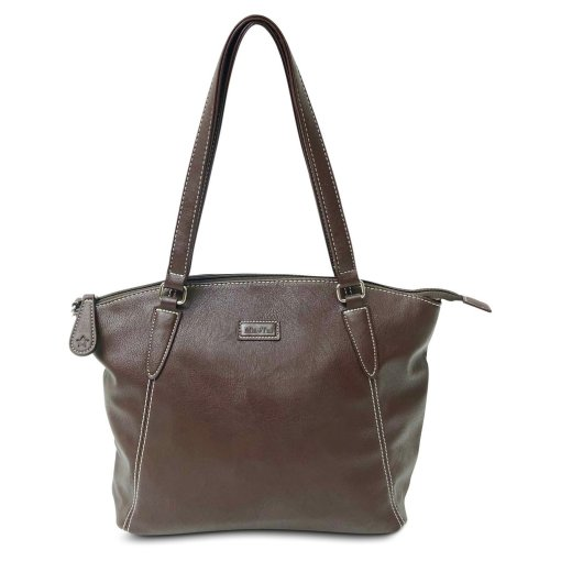 Image is a photograph of a Samantha Renke handbag in a rich chocolate brown colour, on a white background