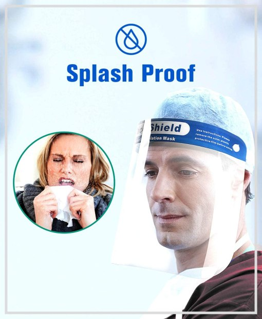 "Image is a collage of photographs - the first is a circular image of a lady sneezing into a tissue, with bodily spray expulsion from the sneeze. Next to this image is a photograph of a man looking down and away from the camera, wearing a PPE face shield. Text reads ""Splash proof"""