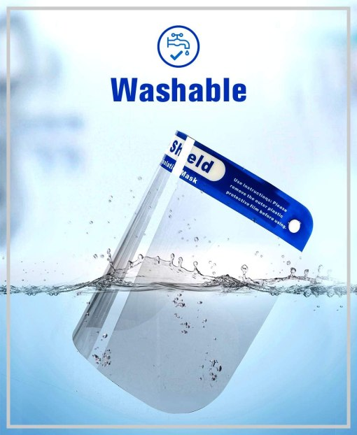 "Image is a photograph of a side view of a PPE face shield dropping into a body of clear, blue water. Text reads ""Washable"""
