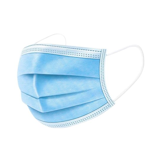 Image is a photograph of a blue medical face mask positioned as if worn over the face