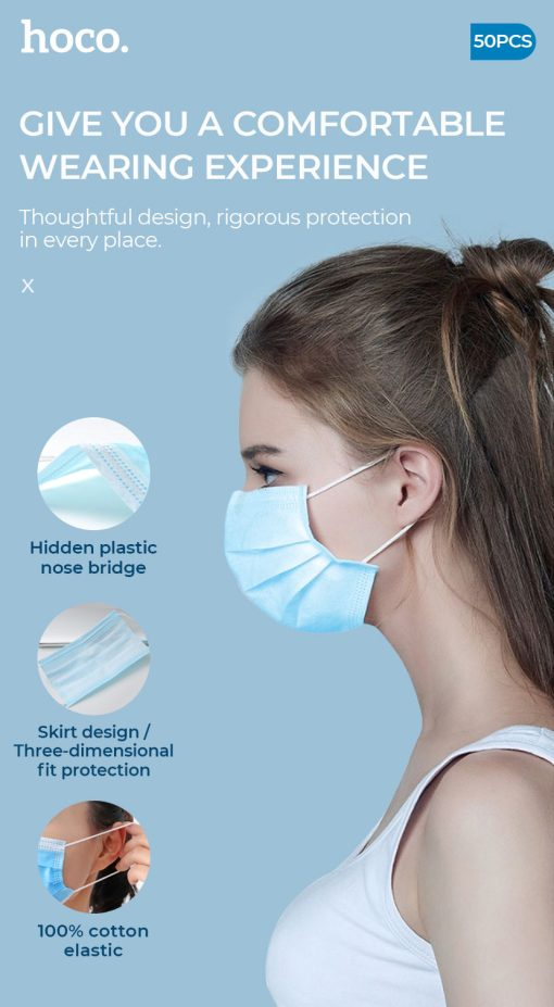 """Image is a portrait poster with a young woman in profile in the centre, wearing a blue face mask. Text reads: """"Give you a comfortable wearing experience. Thoughtful design, rigorous protection in every place. Hidden plastic nose bridge, skirt design/ three-dimensional fit protection, 100% cotton elastic"""""""