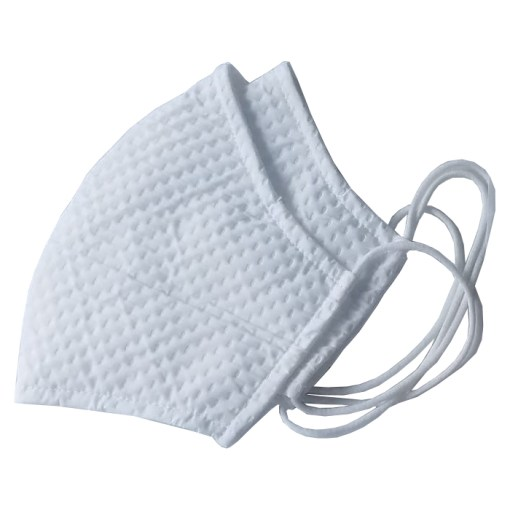 Image is a photograph of two white, fabric waffle-knit face masks with elasticated ear loops on a white background