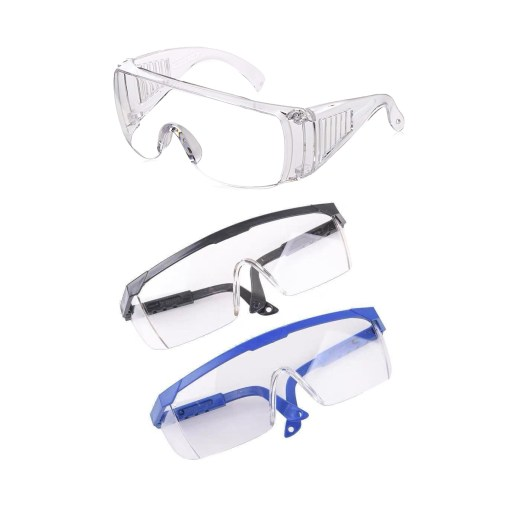 Image is a photograph of three styles of protective eye glasses, the first being entirely transparent frame, the second having a black upper frame, and the third with a blue upper frame