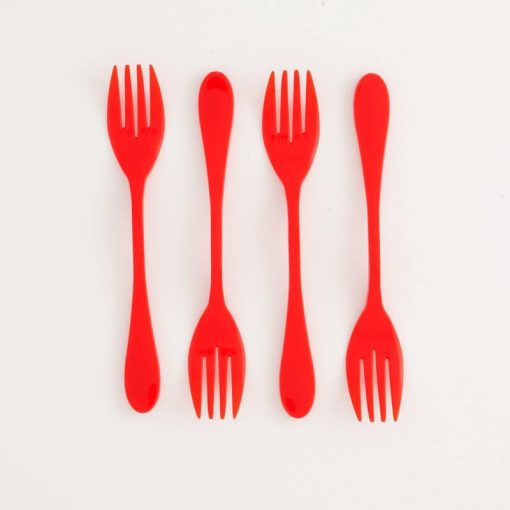 4 red knork plastics in a line