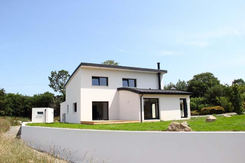 maison contemporaine toiture cintr e constructeur de maison haut de gamme finistere et. Black Bedroom Furniture Sets. Home Design Ideas