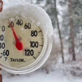 The thermometer says that it's cold — copyright Trace Meek