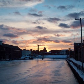 Sunset over a Holyoke canal — copyright Trace Meek