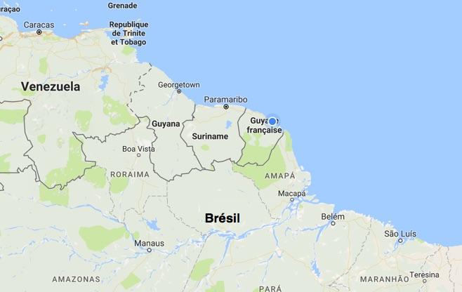 Guyane sur la carte