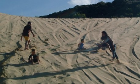 Sand dune sliding in 'Bounty Bay'
