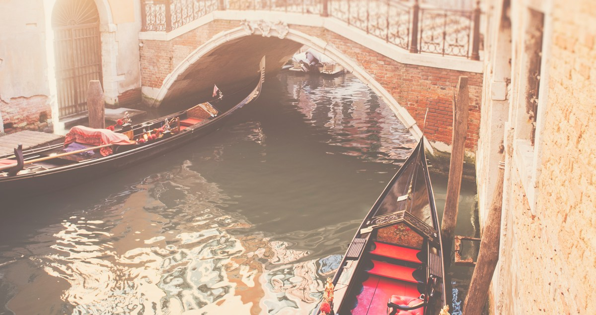 Photograph of a gondola along the back canals of Venice, Italy