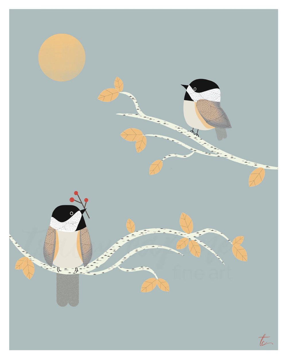 Original illustration of two chickadee birds by Chicago artist Tracey Capone