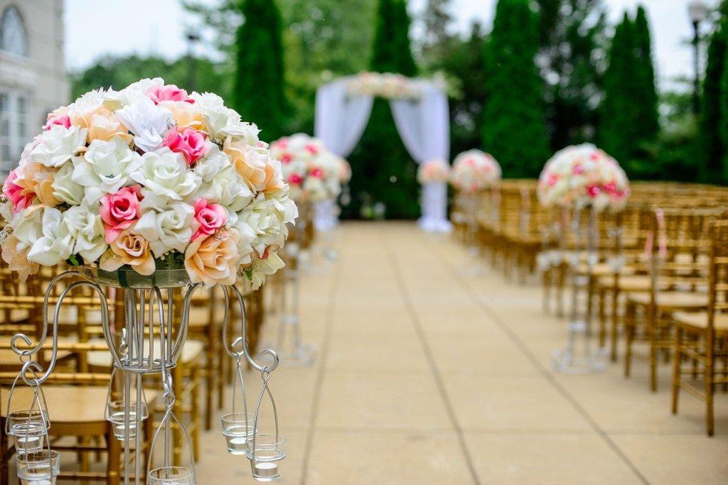 wedding, aisle, flower arrangement