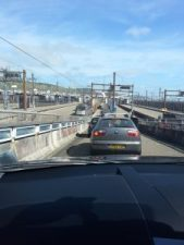 Driving onto the Eurotunnel train