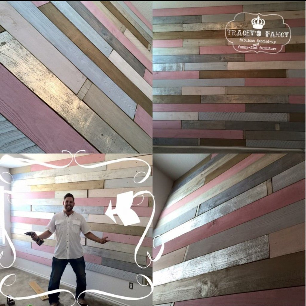 Metallic Wood Plank Wall in Pink and Silver