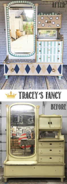 Gentlemans Dresser Makeover to Whimsical Old World Vanity Dresser painted byTracey's Fancy