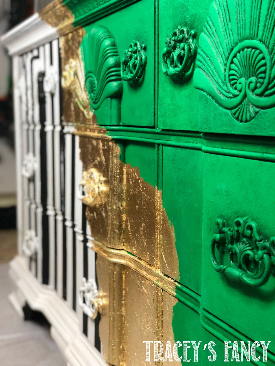 Whimsical Gold Splattered Dresser Tracey's Fancy Close up