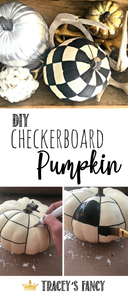 DIY Checkerboard Painted Pumpkin by Tracey's Fancy | No Carve Pumpkin Decorating Ideas | Black and White Painted Pumpkin | Fancy Upscale Farmhouse Pumpkin