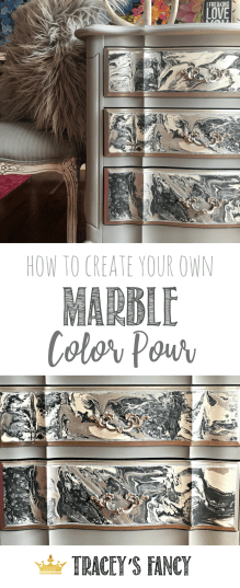 Gorgeous Gray Marble Color Pour on Furniture | Painted Drawers | Tracey's Fancy Marble Color Pour Technique | Neutral Gray Furniture | Color Pouring | Color Pour Furniture | Furniture Painting Tutorials | Furniture Makeover | DIY Furniture | Painted Furniture Inspiration | Nightstand Makeover