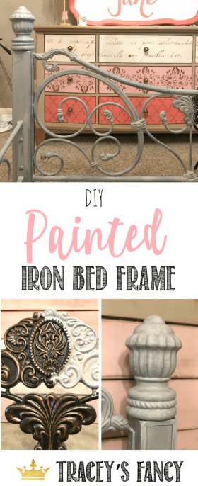 How to Paint Iron Furniture _ Painted Bed Tracey's Fancy | Girls Bedroom Makeovers | Bed Makeovers | Painted Headboards