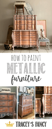 How to Paint Metallic Furniture by Tracey's Fancy #rosegold painted furniture ideas girls bedroom furniture metal leafing gold leafing silver leafing