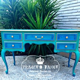 Peacock Painted Desk Tracey's Fancy