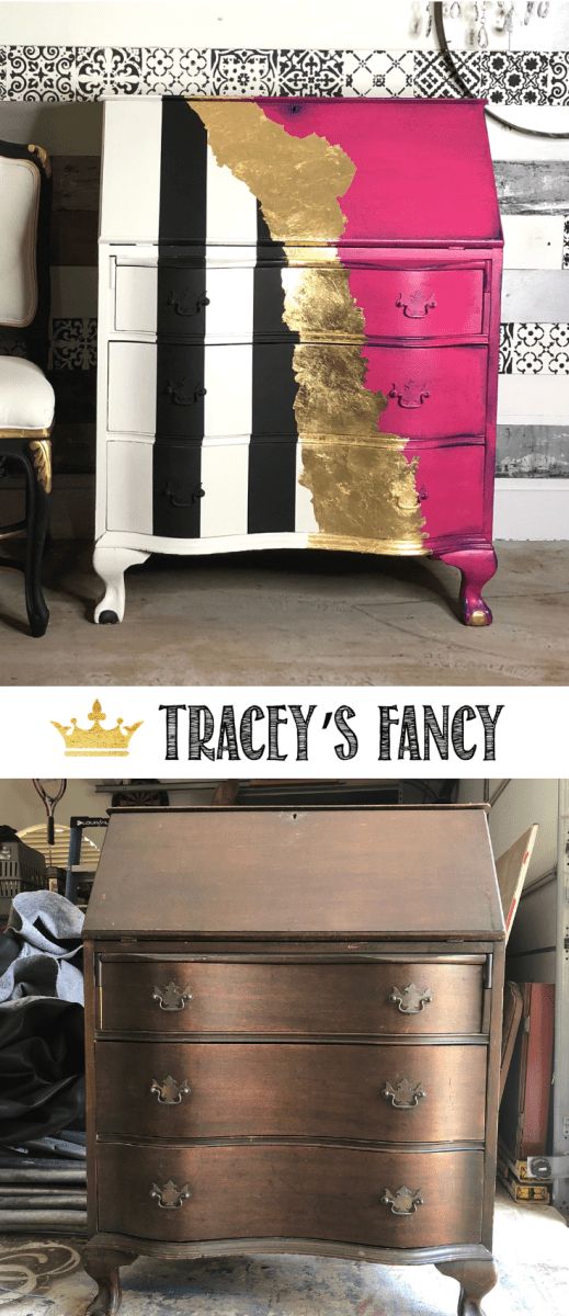Super Glam Whimsical Painted Desk in Hot Pink Tracey's Fancy #Furnituremakeover | Painted Furniture Ideas | Colorful Furniture | Hot Pink Furniture | Black and White striped Furniture | Gold Leafing | Metallic Furniture