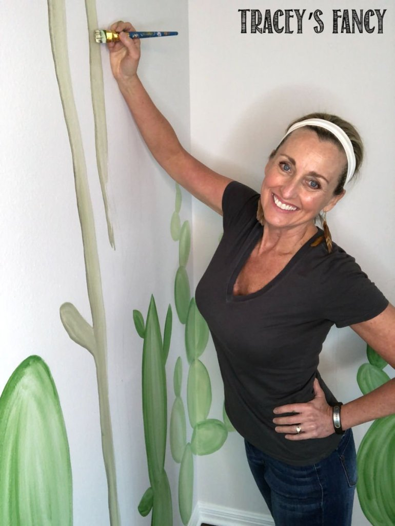 neutral cactus wall mural by Tracey's Fancy