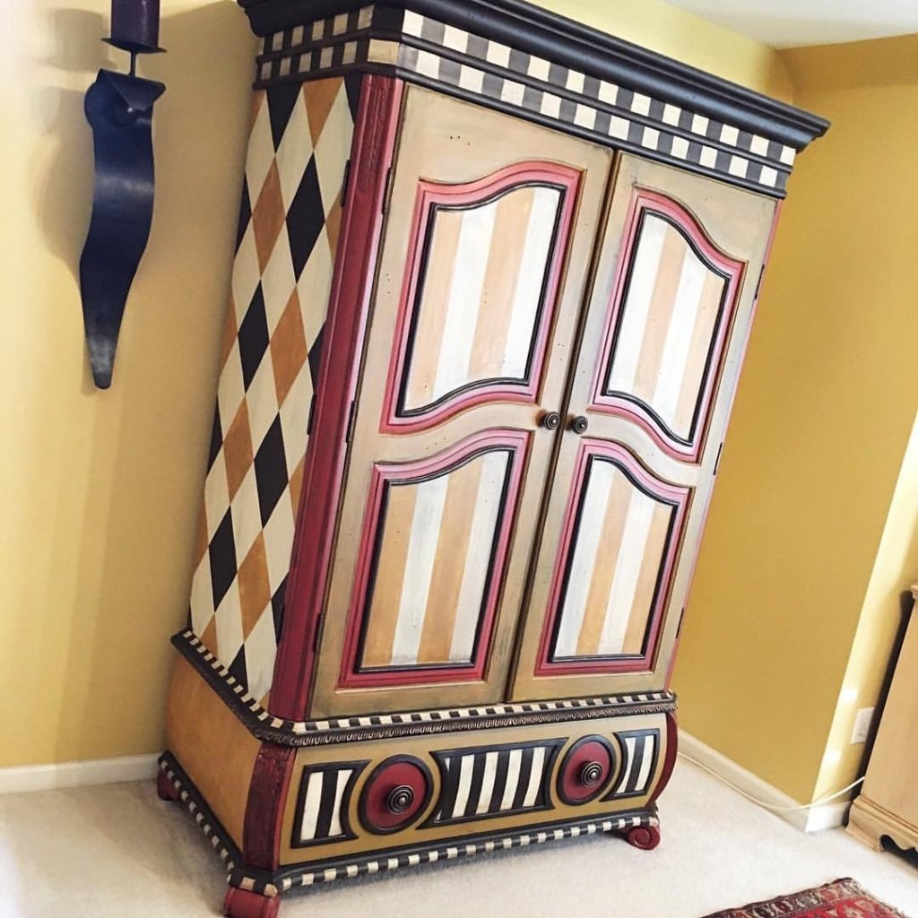 Tan harlequin and stripe harlequin patterned armoire by Traceys Fancy