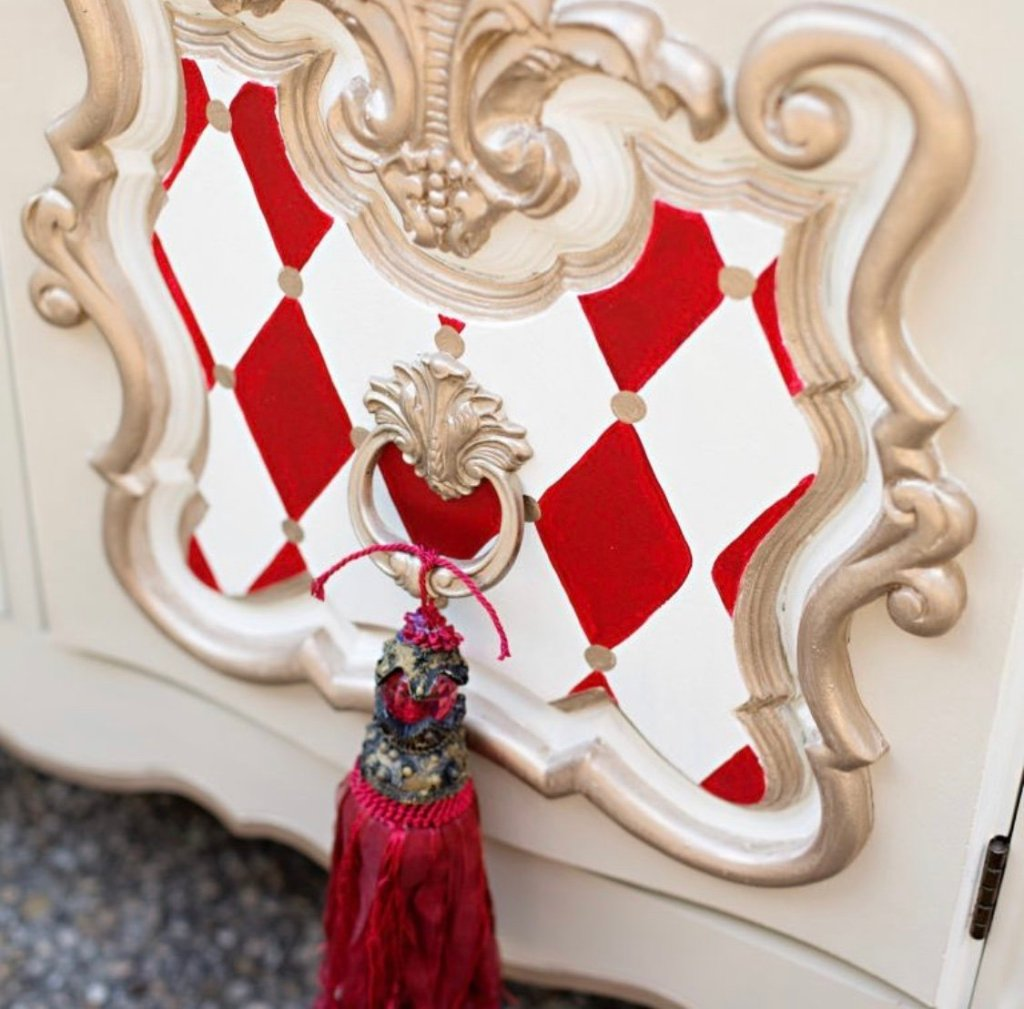 small red harlequin patterned accents by Tracey's Fancy