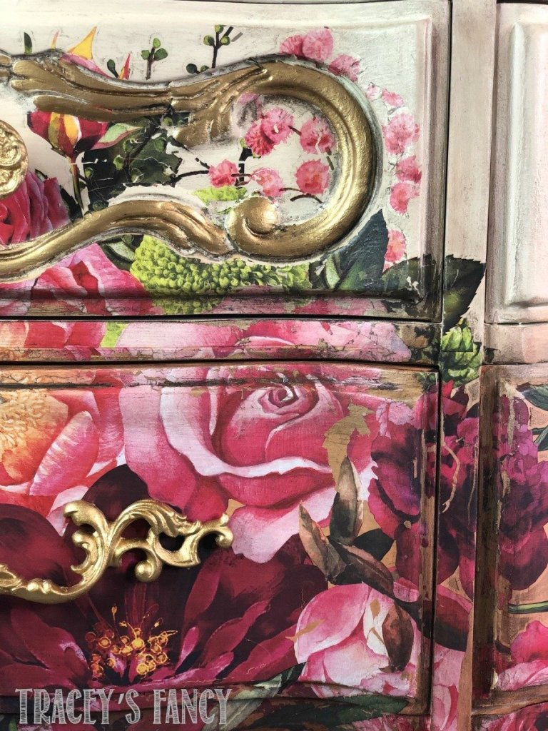 floral furniture transfer dresser by Tracey's Fancy