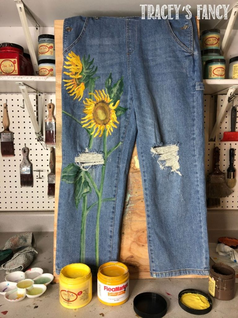 Sunflower painted overalls by Tracey's Fancy
