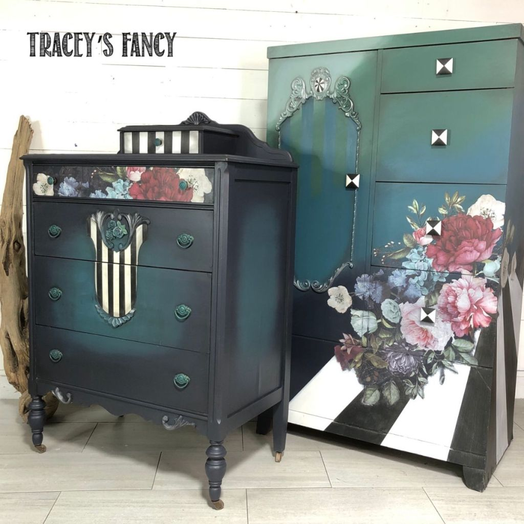Blue color blended cabinet and pop art roses cabinet as part of a set | Tracey's Fancy