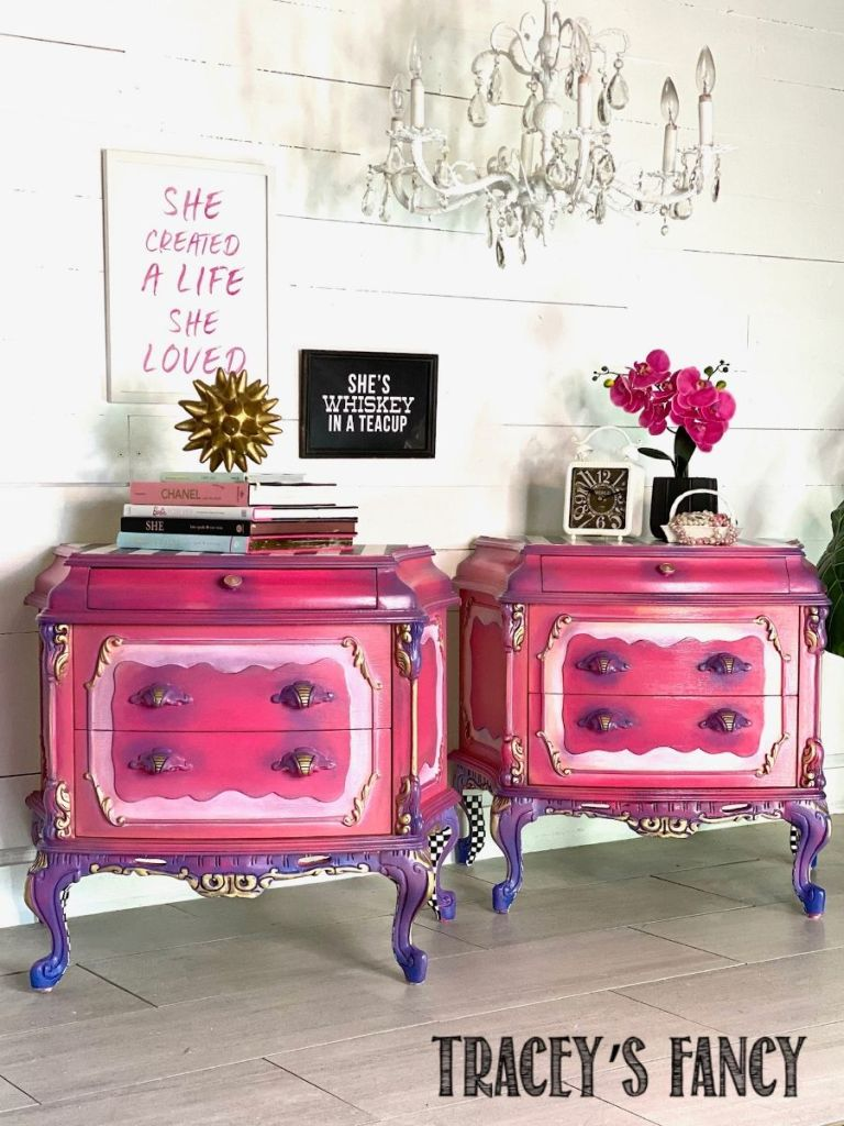 Pink princess nightstands using Dixie Belle's French Tip chalk paint blending brush | Tracey's Fancy