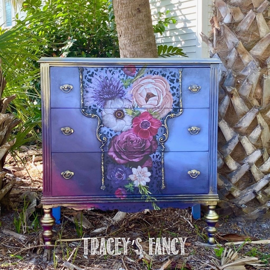 Create Boldly Florida | Traceys Fancy | adding visual interest with paint, moldings, transfers and wax for a total transformation