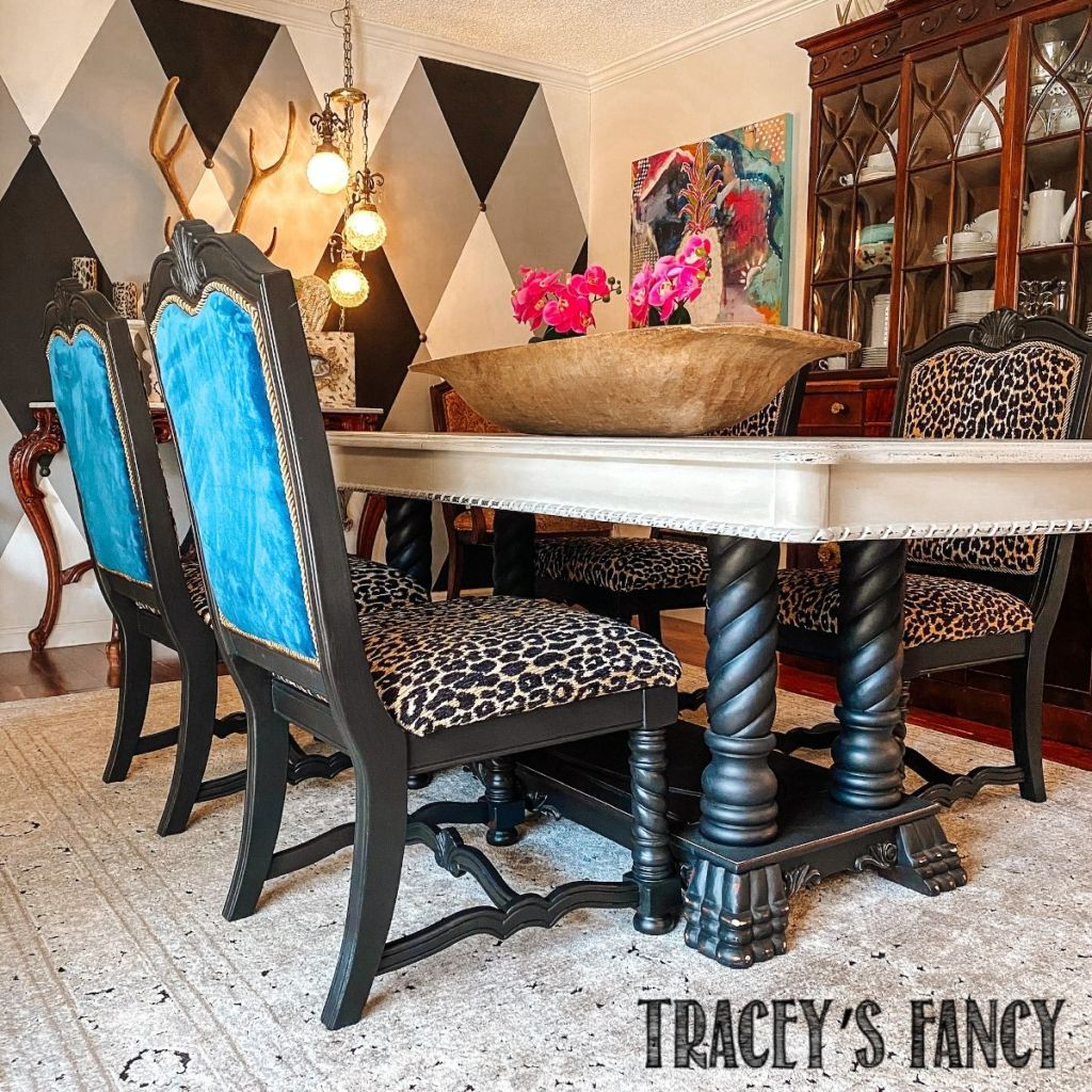 How To Reupholster Dining Room Chairs In Leopard Tracey S Fancy