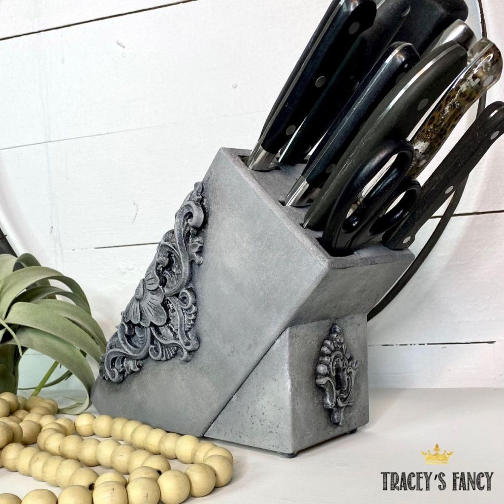 painted knife block with WoodUBend molds by Tracey's Fancy