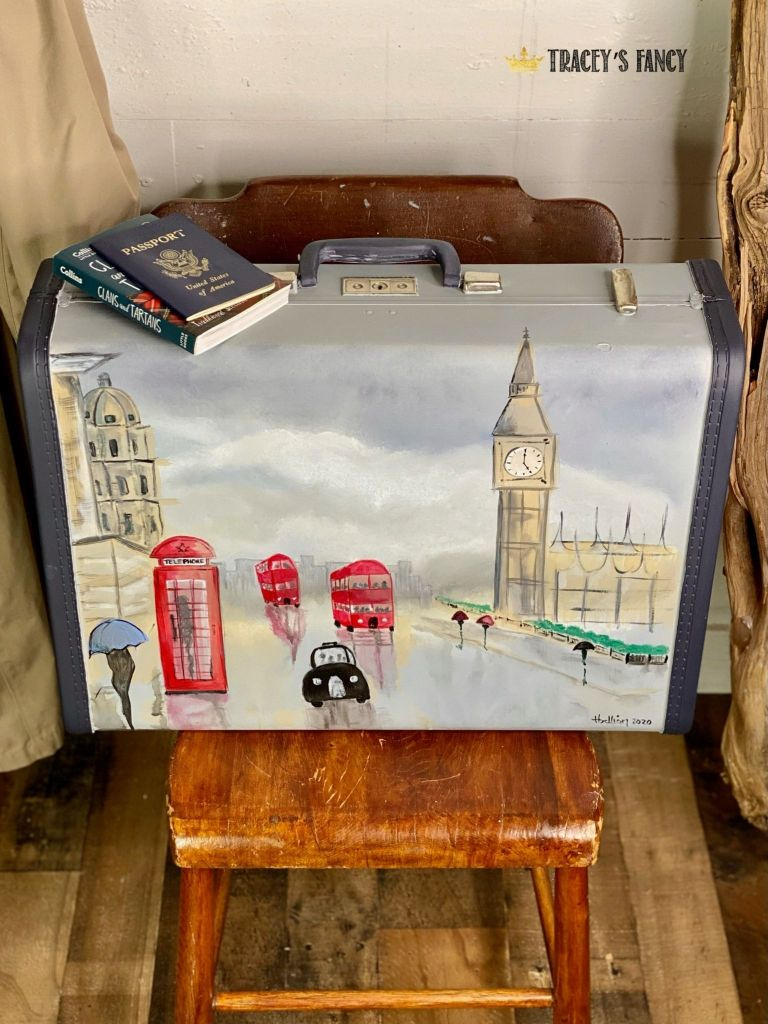 vintage luggage paint with London theme by Tracey's Fancy