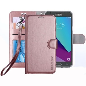 Samsung Galaxy J3 Prime Leather Wallet Case by ERAGLOW